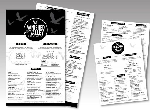 Vanished Valley Brewing Co. Menus